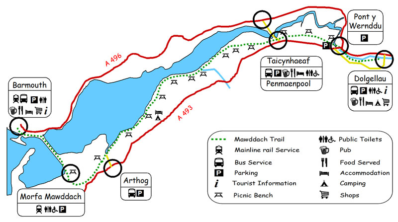 Mawddach Trail Map - Railway Walk from Dollgellau to Barmouth in Wales